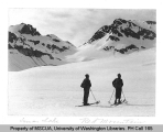 Two skiers on Lyman Glacier near Red Mountain, northwest Chelan County, n.d.
