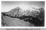 Helmet Butte Mountain and the west side of Fortress Mountain viewed from Buck Pass, Central...