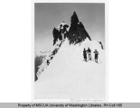 Three skiers near El Dorado spur, n.d.