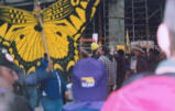 Yellow butterfly cutout on a stick held by a protester in a crowd, downtown Seattle