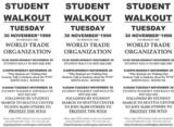 Student walkout : Tuesday 30 November 1999 to protest the World Trade Organiztion [recto]