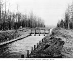 Juncture of lined canal with unlined canal, between Buckley and Lake Tapps, April 12, 1912