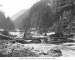 Early test drilling operations at the proposed site of Gorge Dam, October 17, 1919