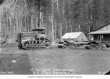 Holt Caterpillar tractor and five-ton trailers, Gorge Dam, April 1921
