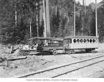 Gas-powered trolley, known as the Toonerville Trolley, running on railroad tracks from Rockport to...
