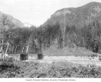 Bridge across the Skagit River at the site of the Gorge Dam Powerhouse, July 17, 1921