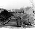 Railroad track construction at outlet canal northwest from Lake Tapps, October 18, 1910
