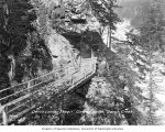 Plank walkway and bridge at Devil's Corner, Skagit River, July 1, 1919
