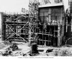 Framing construction of south addition to powerhouse, June 9, 1924