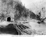 Diversion dam and tunnel construction, Diablo Dam, March 1928