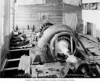 Installation of fourth water wheel turbine and generator in powerhouse, October 15, 1924