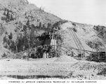 Gravel grading equipment at Reflector Bar, with incline railway in background, March 1928