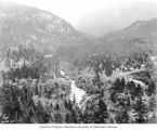 Bird's-eye view of Ruby Inn and Skagit River, near proposed site of Ruby Dam, June 18, 1919