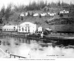 Hydroelectric plant intake, office, transformer house, and workers' cottages, on the Snoqualmie...