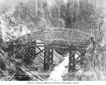 Bridge under construction over Cedar River at Masonry Dam, June 3, 1914