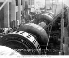 Main turbine room of powerhouse during construction, September 16, 1925