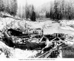Intake and flume line construction, Puyallup River, November 15, 1903