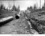 Laying steel pipe in the trench south of Seattle, ca. 1899