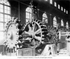 Powerhouse interior showing placement of water wheel and rotor shaft in no. 3 generating unit...