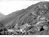 View of the community of Diablo, including the Diablo Powerhouse and incline railway, from Highway...