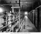 Massachusetts Street Substation interior showing high tension  wiring and disconnecting switches,...