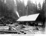 Sawmill on Skagit River just west of Babcock Creek, built to provide lumber for Newhalem and...