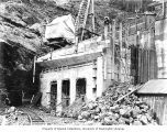 Gate house under construction at Masonry Dam, January 19, 1914