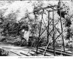 Timber structures used for early exploration work at the Ruby Dam site, October 19, 1919