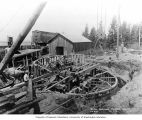 Constructing a circular penstock forebay at the western end of the main tunnel, June 15, 1911