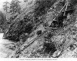 Diamond drill, an early piece of machinery used at Ruby Dam site, June 29, 1919