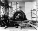 First generator installed at the powerhouse, July 20, 1911