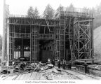 Wood frame construction of the powerhouse, August 11, 1911