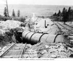 Fourth penstock installed between standpipe and powerhouse, October 15, 1924