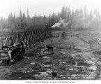 Building embankment trestle for construction of Printz Basin, November 1, 1910
