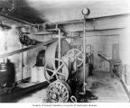 Machinery in basement of White River powerhouse, April 12, 1912