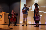 Chola Con Cello, Quetzal Flores, and Martha Gonzalez, keynote session, No. 3, Women Who Rock 2011...