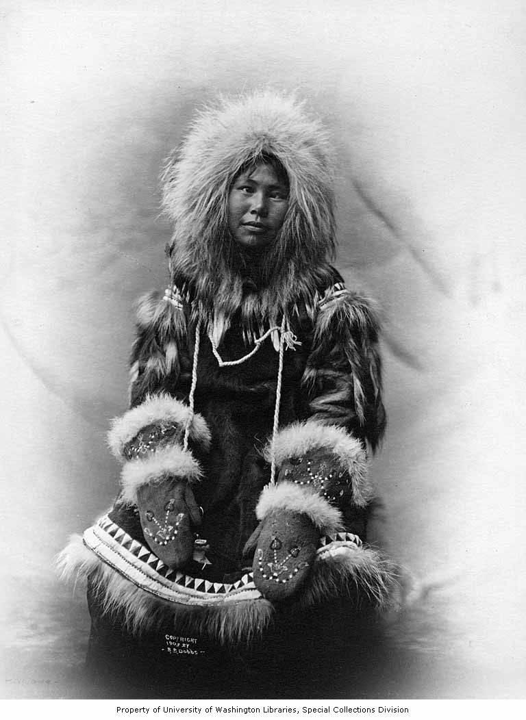 Cross Eyed Inuit Woman With Chin Tattoo, Eskimo Coat Name