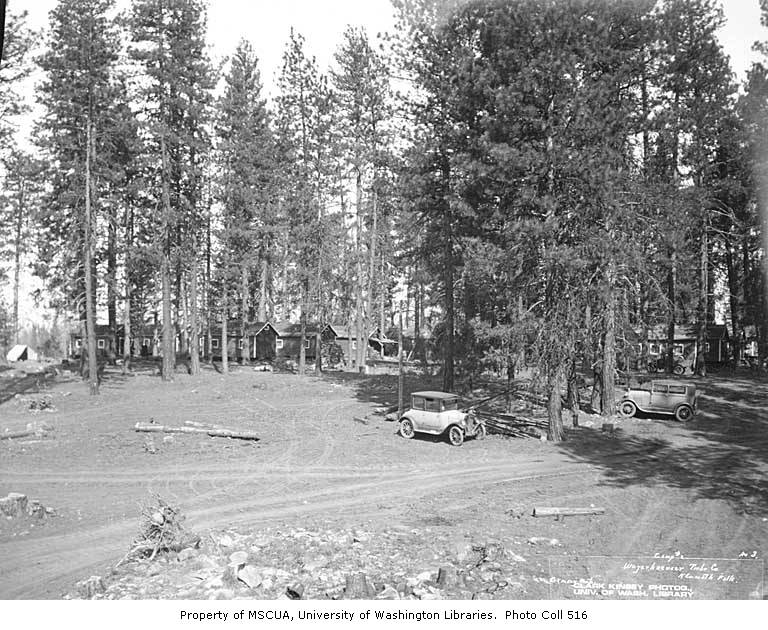 Cars and buildings at camp no  2, Weyerhaeuser Timber