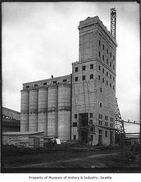 Grain Elevator Under Construction Seattle 1915 Museum Of History