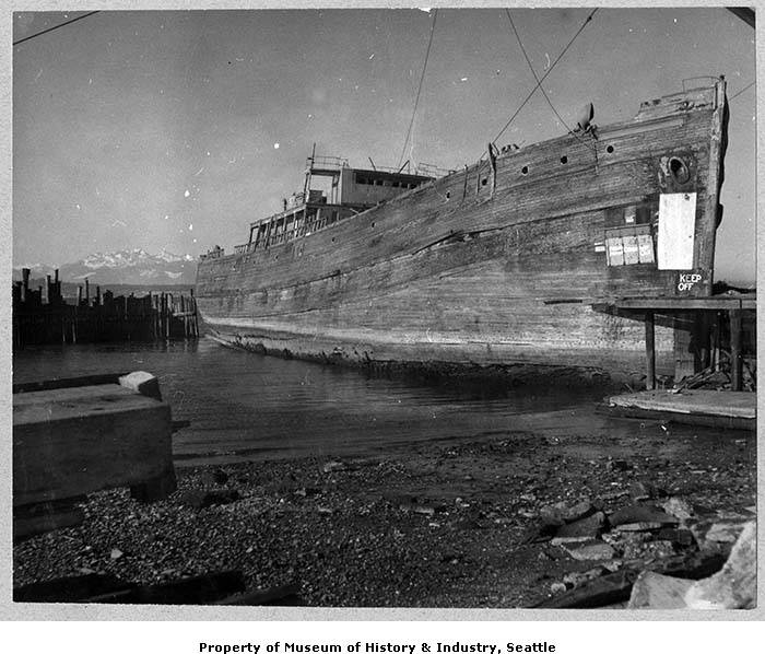 Derelict ship Bering on Shilshole Bay, Seattle, January, 1957