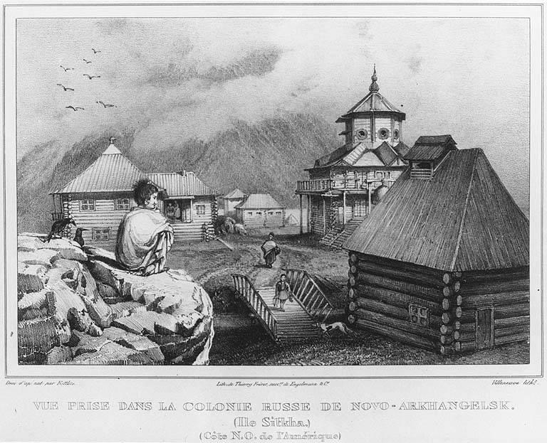 Tlingit man looks down at the village of Novo Arkhangelsk (now Sitka) Alaska, in engraving made 1827