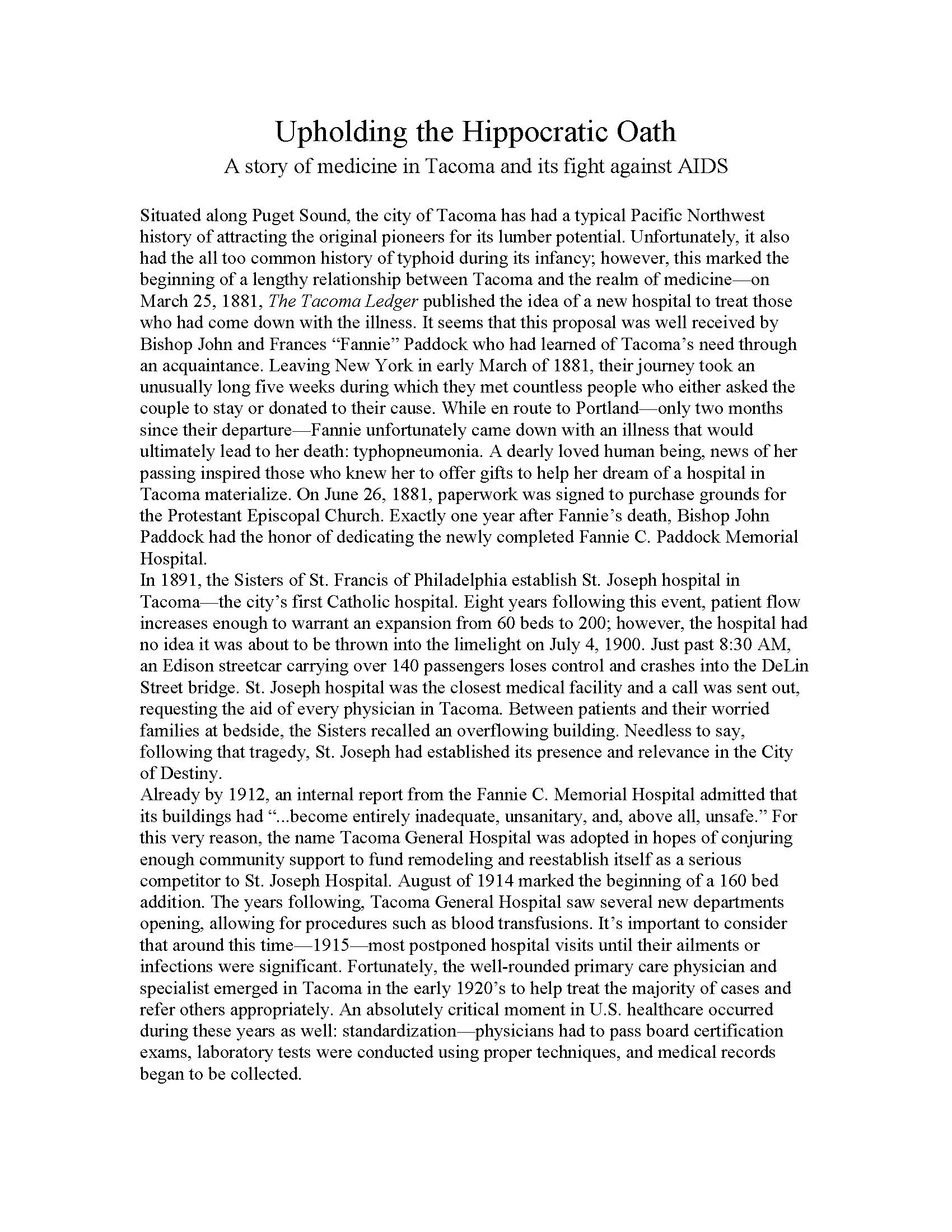 Joshua Wright, research essay - Tacoma Community History