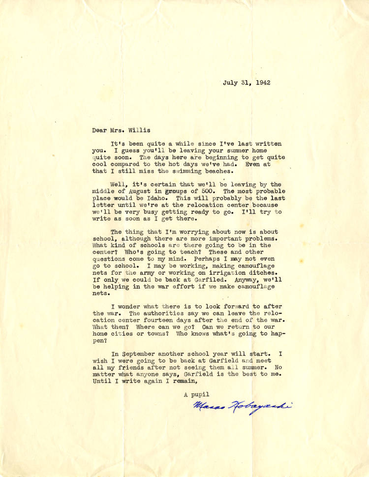Masao Kobayashi letter to Elizabeth Bayley Willis regarding life in