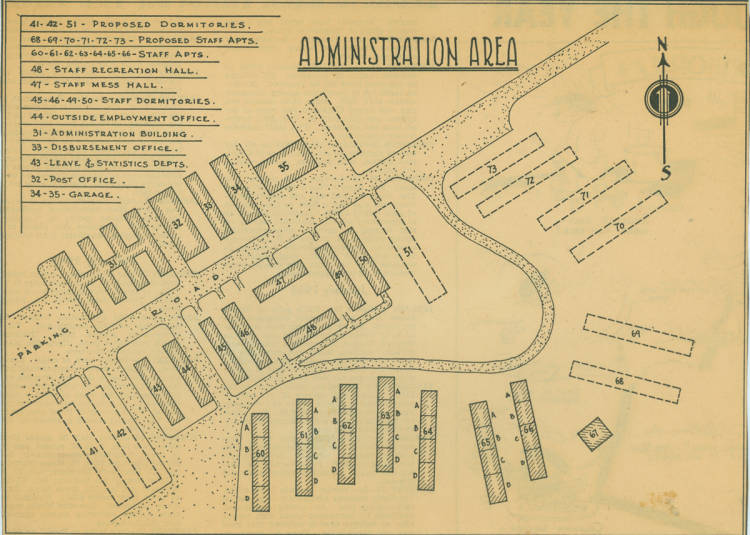 Map of the administration area of the Minidoka internment ...