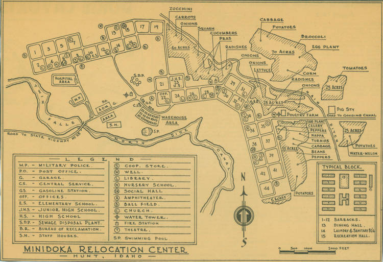 Map of the Minidoka internment camp from the Minidoka ...