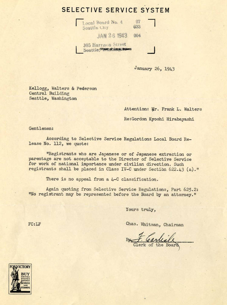 Charles Whitman, Chairman of the Selective Service System (Local Board 4), letter to Frank Walters regarding Gordon's appeal for a 4-C Classification, ...