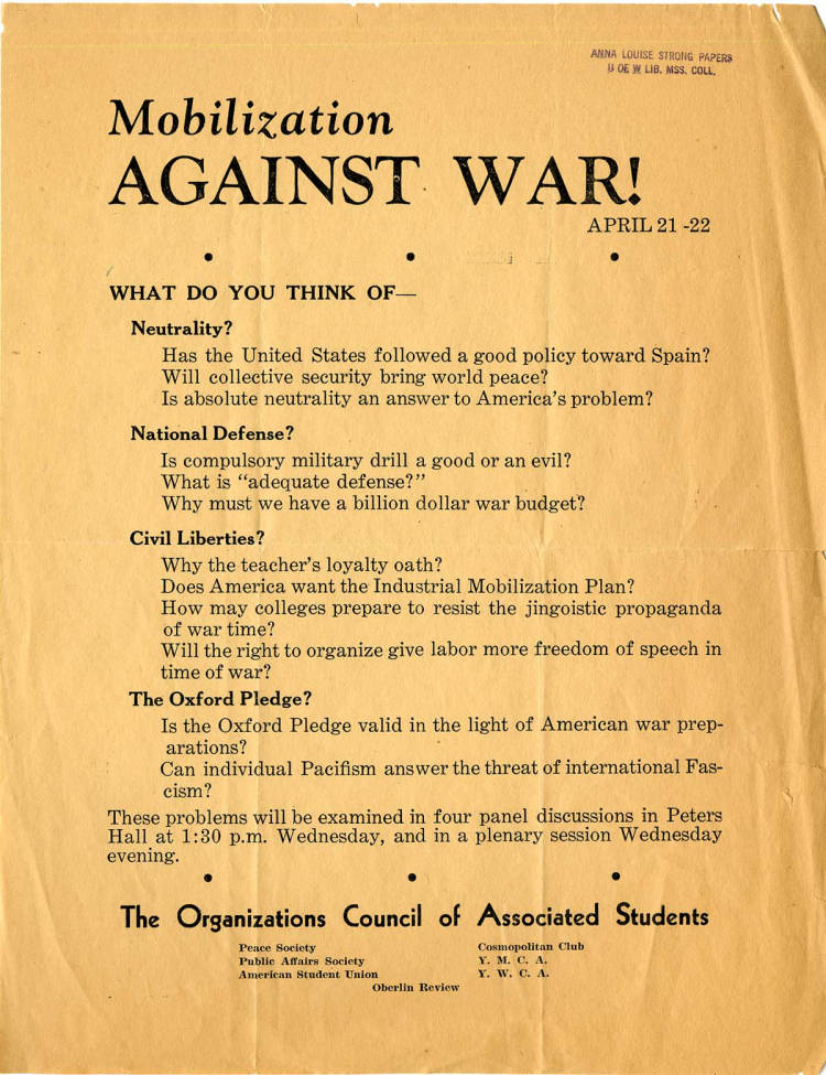 Notice for a panel discussion on anti-war mobilization at