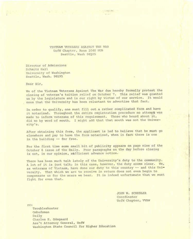 Vietnam Veterans Against the War at University of Washington