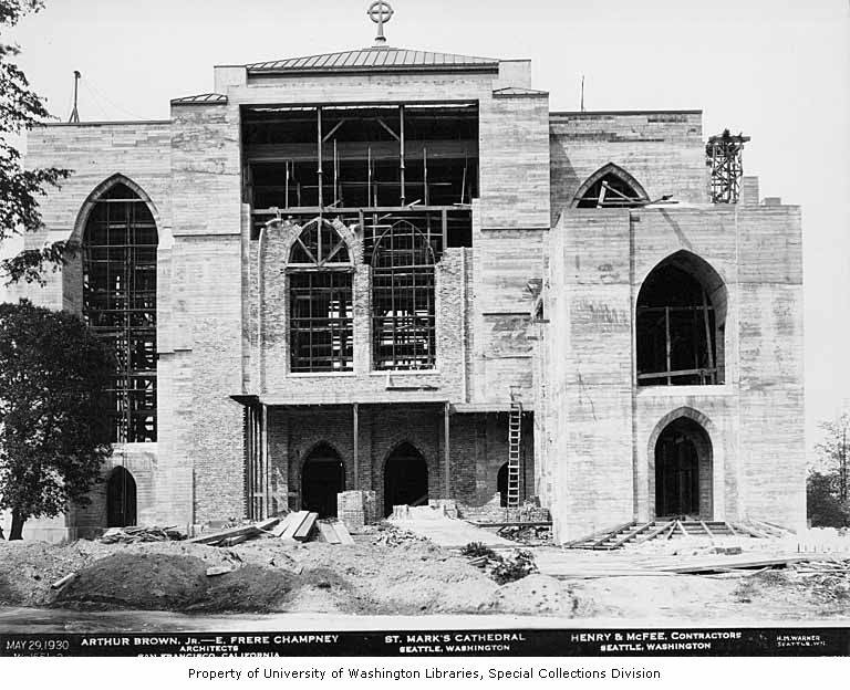 St  Mark's Episcopal Cathedral under construction showing ladders