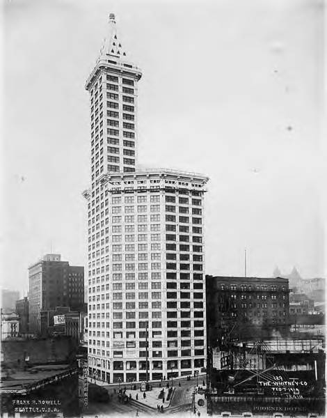window cleaning seattle completed smith tower with window cleaning scaffolding near the top of main building seattle washington february 7 1914